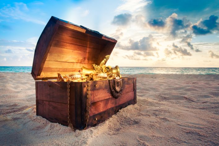 Treasure Chest on a sandy beach